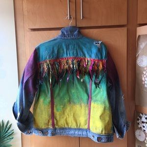 Hand painted denim jacket with feathers, size XL